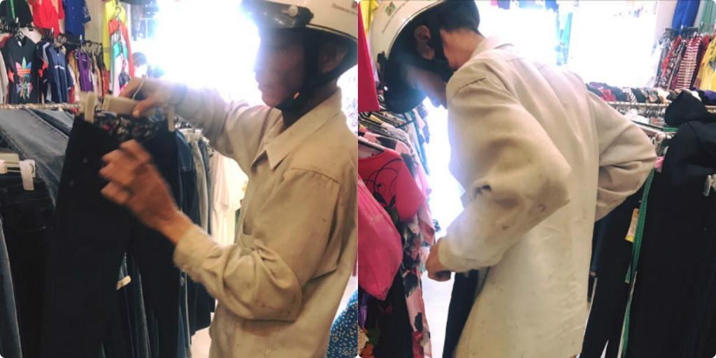 Cảm động trước hình ảnh cha nghèo chọn quần áo cho vợ con những ngày cận tết, ngại nhờ vả ông đành tự ướm lên người