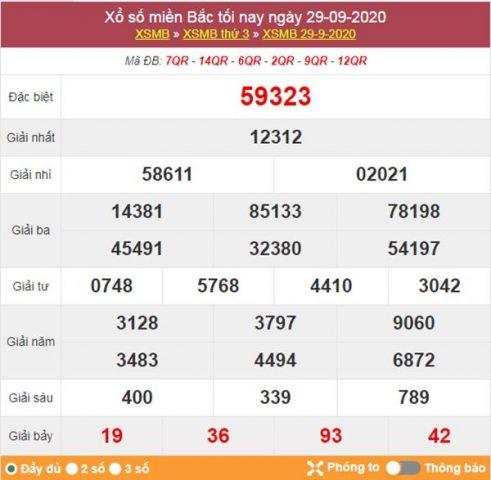 Thống kê XSMB 30/9/2020 chốt số miền Bắc siêu chuẩn